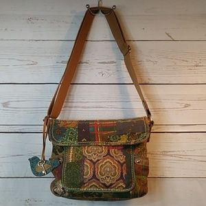 Fossil Boho Crossbody Purse w/ Bird & Key Charm